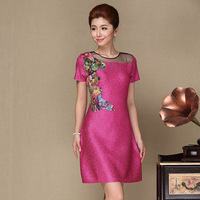 Quinquagenarian women's summer silk elegant lace one-piece dress mother clothing the middle-age plus size clothing