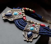 New Fashion Luxury Brand Blue Beads Vintage Water Drops Necklace Charm Design Jewelry