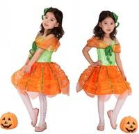 Children's Halloween costumes stage performance clothing girls dance party pumpkin pumpkin princess dress clothes