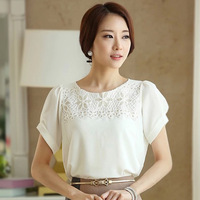 2014 Hot New Short Sleeve Lace Spliced Solid Women Shirt Summer Fashion Sequined Plus Size Chiffon Blouses 6561