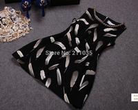 Female spring autumn plus size sleeveless O-neck handwork Beads Feathers Diamond print Hedging slim dresses R96 B01 GD1165