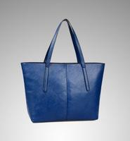 The new trend of Korean women bag PU leather handbag fashion casual big oil chartered suture retro shoulder bag wholesale