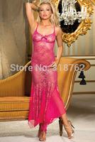 sexy lingerie purple/pink lace long dress emodiery women night sleepwear hot dress set