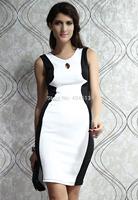 10pcs/lots 2014 Fashion European women Dress Panel Midi Dress with Cut-out Evening Dress Long Gown