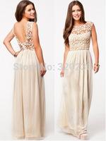 Hot sale 2014 Girls Lace Patchwork Elegant Long  Dress ladies fashion dress evening dress