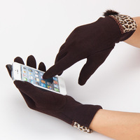 2014 Christmas Gift Women Winter Girl Touch Screen Gloves Wrist Patchwork Mittens Warm Leopard Pompon Combed Cotton Full Finger