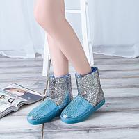 2015 Hot sale casual short flat heel round toe taojian short women's shoes color block decoration light shoes rubber boots