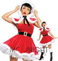 New Costumes waist closure collar Christmas costumes for women party sexy Christmas costume uniform Free shipping