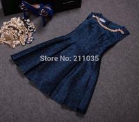 Female high quality spring autumn plus size sleeveless o-neck empire Diamond jacquard Hedging slim tank dresses R96 B01 GD1160