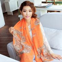 2014 New Stylish Girl Long Soft Scarves Muffler Promotional Discounts Chiffon Velvet Geometric and Elegant Women Print Scarf