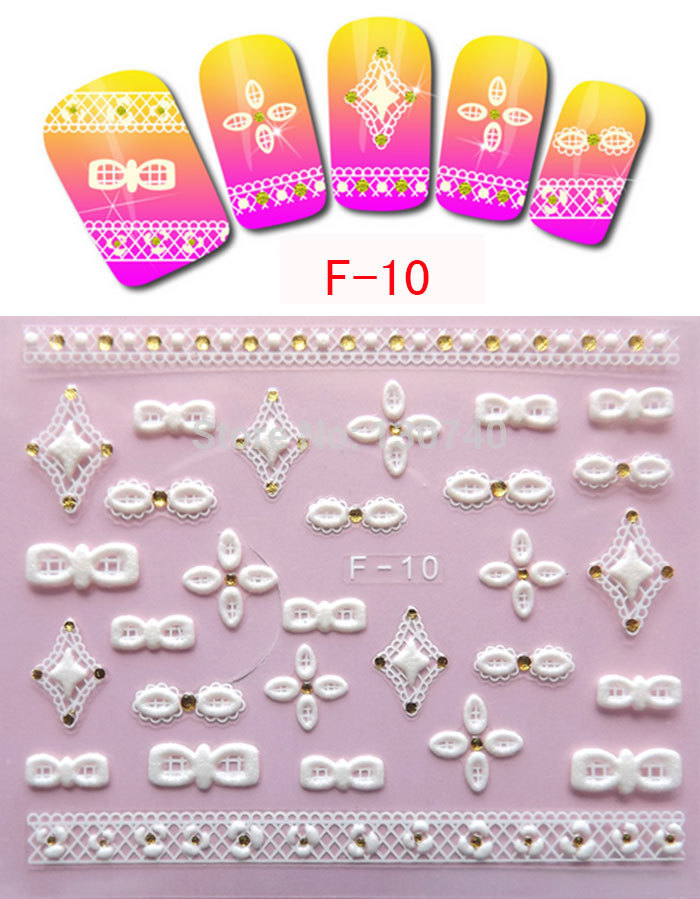 F-10 2014 bronzing nail 3d nail sticker decals fashion coloured drawing or pattern Phototherapy hook flower patch nail decals(China (Mainland))