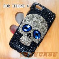Handmade Cell Phone Case skull mobile phone rhinestone Cover For Iphone 6 4.7 cases hard housing