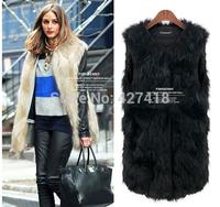 Ladies Genuine Knitted Faux Rabbit Fur Vest Raccoon Fur Trimming Tassels Women Fur Natural Waistcoat Lady Gilet colete pele