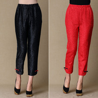2014 quinquagenarian pants silk straight high waist elastic waist ankle length trousers thin comfortable breathable
