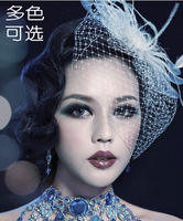 Free shipping Bride white feather bow big mesh veil small fedoras hairpin hair accessory brooch hair accessory d306