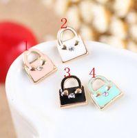 Enameled hangbag charm pendant, 4 colors mixed, 10x12mm, wholesale
