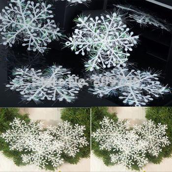 30 шт. новинка белый снежинка лист орнамент елочные украшения дома фестиваль декор 11 см сияющий бесплатная