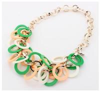 Fashion jewelry 2014 women elegant resin interlocking pendant&necklace