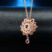 Joyme Brand 2014 AAA Quality Fashion women gold plated multicolor cubic Zircon Sun flower jewelry Necklace