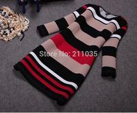 Female high quality spring autumn plus size full sleeve o-neck three quarter striped  Hedging slim dresses R96 B01 GD1170