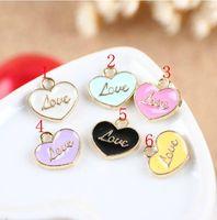 Enameled heart love charm pendant, 6 colors mixed, 12x12mm, wholesale