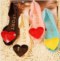 Top Quality 2014 Summer Lady Melissa Jelly Shoes Candy Color Heart Women Open Peep Toe Jelly Flat Beach Sandals