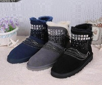Ffashion crystal rivet female ankle snow boots women boots genuine leather chains women's winter shoes for woman free shipping