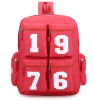 new arrival 2014 newest men's backpack ployester number zipper design women bag fashion casual backpacks school Bags fw-641