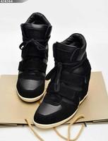2014 Genuine Leather Booties Height Increasing Women Sneakers Designer Wedge Heels Women Motorcycle Fashion Sneakers size 35-41