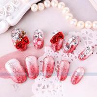 24 pcs /lot New 2014 Wedding French Diamond luxury  Bride 3D False Nails Wedding fake nail/nails tips,