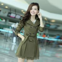2014 New Fashion Spring & Autumn Korean large size women's windbreaker women trench coat Long sections Jacket Free Shipping