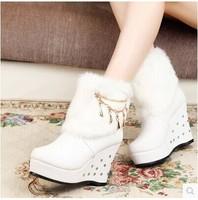 2015 HOT Style artificial fox rabbit Design fur inside women's snow boots women Winter shoes free shipping
