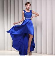 Blue Elegent fashion hosted catwalk Asymmetric Lace dress U-neck long evening Party dress Double shoulder