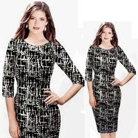 Ebay fashion print half sleeve sexy hip slim pencil skirt
