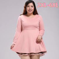 Plus size clothing Pink dress autumn winter Fat girl Sweet lace patchwork long-sleeve slim one-piece dresses