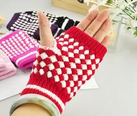 Promotion Cute Christmas Gift Winter Pineapple Knitted Women Ladies Girl Fingerless Gloves Half Finger Mittens Free Shipping