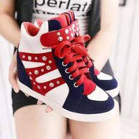 2014 fashion women shoes rivet high platform women sneakers and sport shoes woman