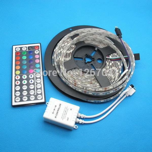 5M RGB LED Strip 5050 Waterproof 60led/m Flexible LED Light DC 12V + 44Key IR Remote Controller one set Free shipping(China (Mainland))