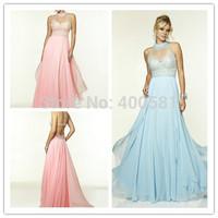 2015 New A-line Floor length High Sheer Illusion Neckline Beading Chiffon Light Blue Pink Evening Dresses