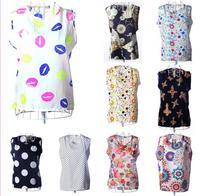 16 Colors New 2014 Women Chiffon Sleeveless Sheer Blouse Candy Colors Causal Chiffon Blouses Woman Top XXXL Plus Size#CGS024