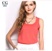 2014 European Fashion Women's Sleeveless Vest Candy-Colored Chiffon Sheer Blouses Blusas Shirts Tops S~XXXL Plus Size#CGS020