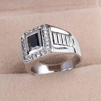 One piece fashion platium 17/18/19 men's metal crystl black enamel handmade rings xydr191 free shipping