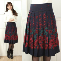 Plus Size Skirts For Women Rose Printed Mother Autumn Winter Spring Pleated Skirts Ladies New Fashion Prodessinal Skirts 6XL