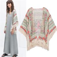 Free Shipping 2014 New Women Summer Positioning Fringed  Knit Cardigan Shawl Printed Kimono Sleeve Blouse Coat Jacket