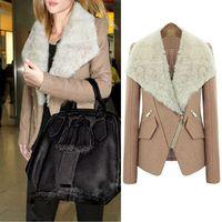 Casual Warm Women  Lapel Fur Collar Shrug Diagonal Zipper Woollen Cotton-padded Coat Jacket Outwear #66137