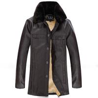 New 2014 Men'S Winter Jacket Fur Collar Plus Velvet Thick Leather Jacket Men Brand Coat  Casual Leather Jackets XG-216