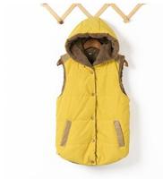 Plus size XXXL Hot new women's autumn and winter 2014 fashion wild coral velvet hooded cotton vest for women free ship