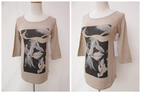 NEW! Fashionable Women Knitted  Pullover Print Sweater  Half Sleeves Camel