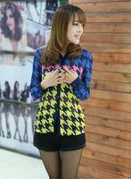 2014 Special New Houndstooth chiffon shirt women clothing fashion casual plaid women blouses European style shirt