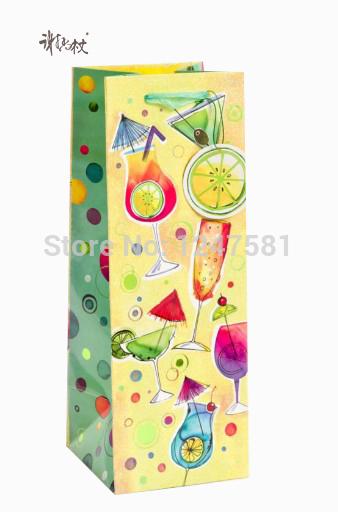 China wine small beauty printing paper bag matt lamination wine paper bags with handles wholesale(China (Mainland))
